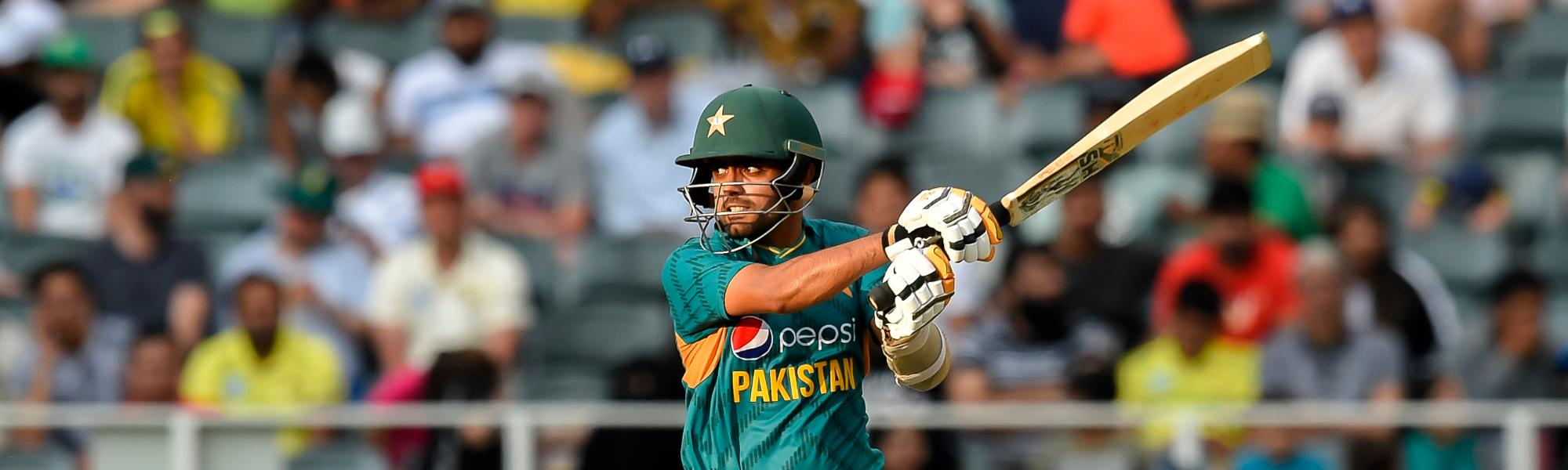 Babar Azam on the charge during his rapid 90