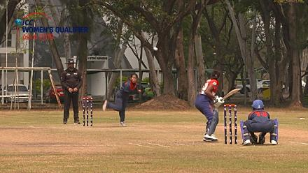 ICC Women's Asia Qualifier 2019: Thailand v Nepal – Suleeporn Laomi of Thailand takes a sharp caught and bowled