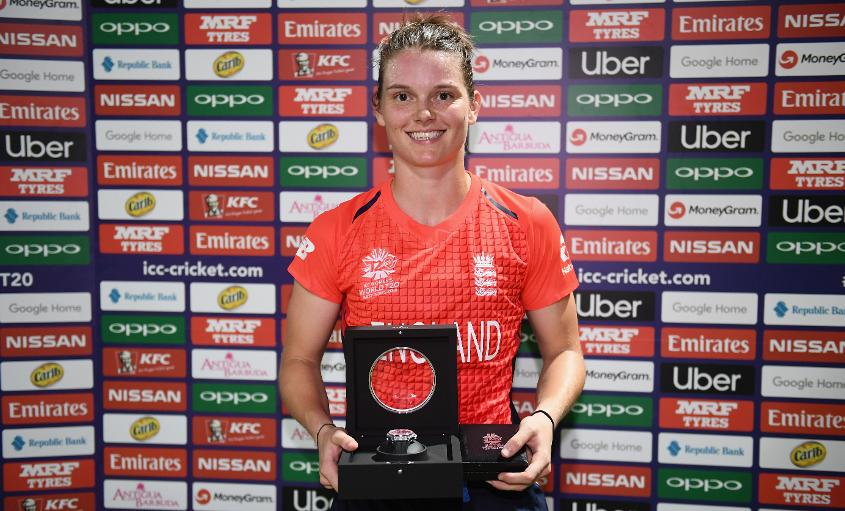 Amy Jones stands with her Player of the Match award at the ICC Women's World T20 2018