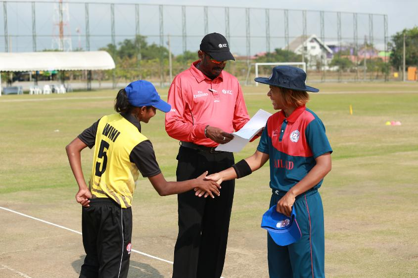 The captains met at the toss as Thailand took on Malaysia in the ICC Women's Asia Qualifier