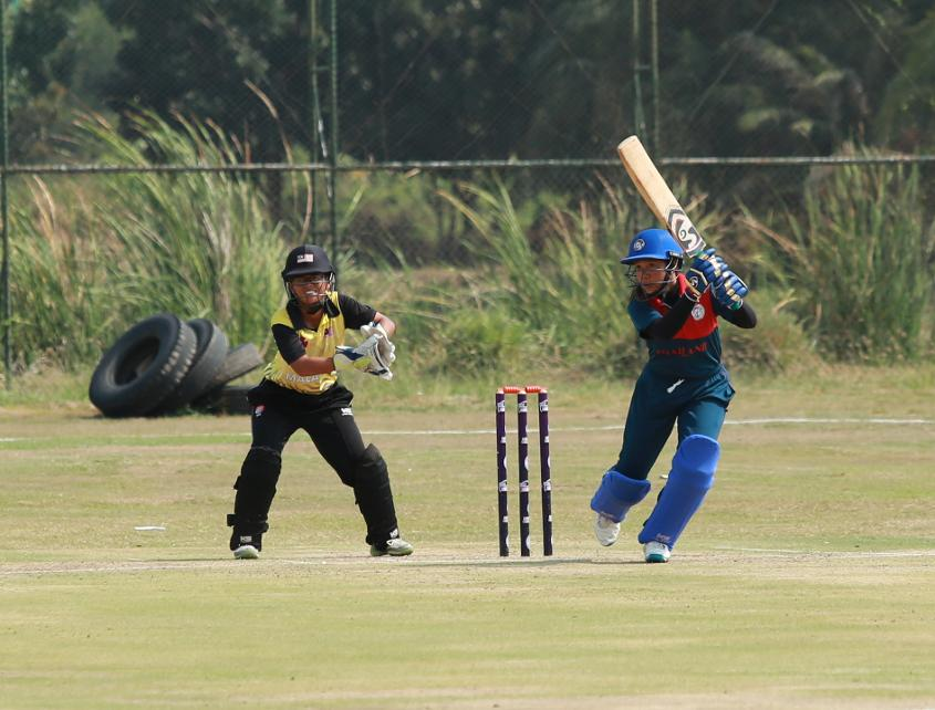 Thailand pierce the off-side field during their innings