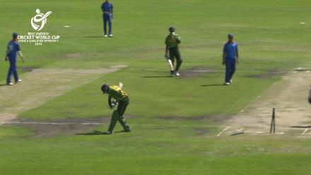 ICC U19 CWC Africa Div 1 Qualifier NAM v NIG Mauritius Ngupita of Namibia takes 3 for 16 in 10 overs against Nigeria