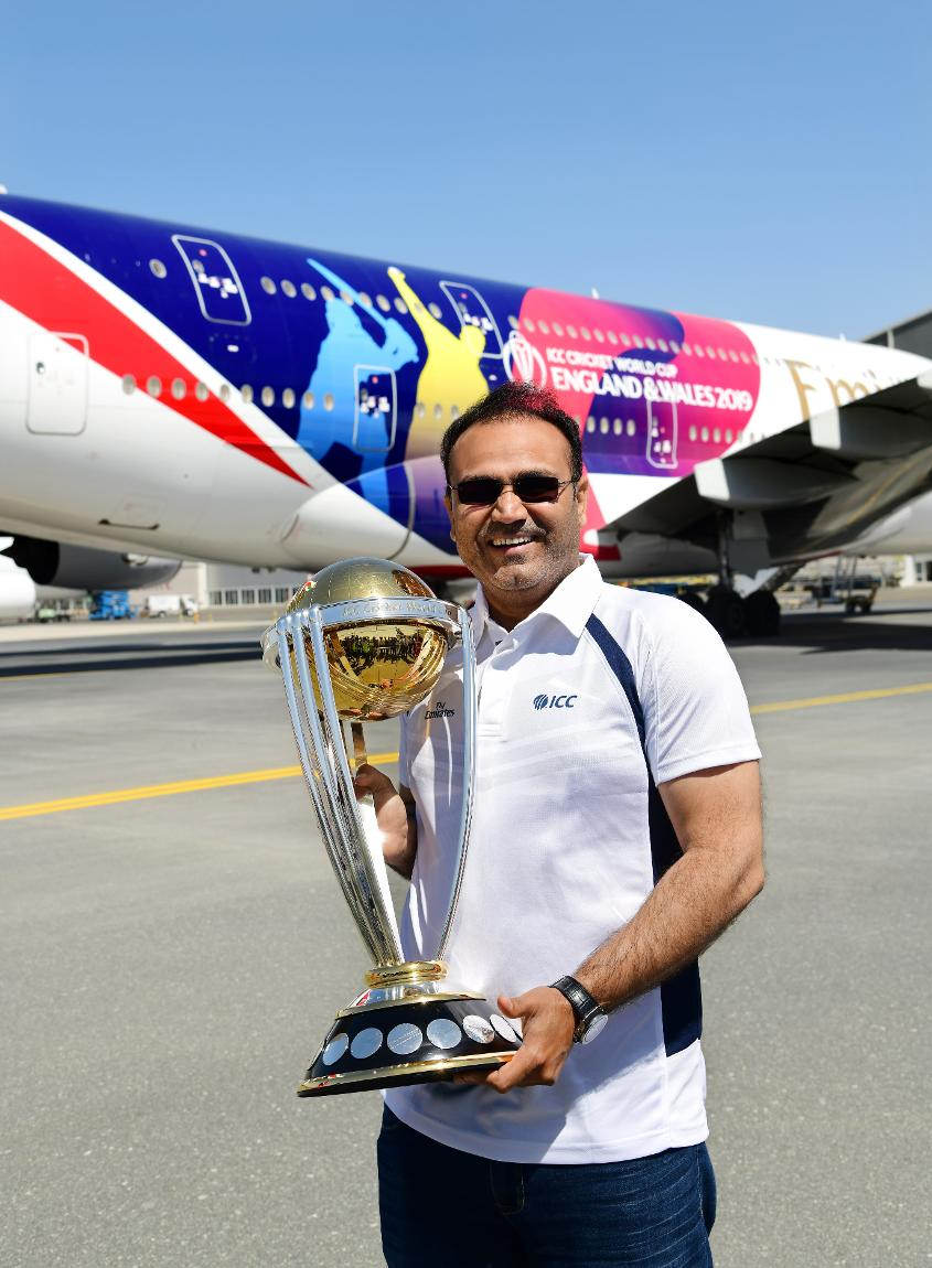 ICC Men's Cricket World Cup 2011 winner, Virender Sehwag with the trophy