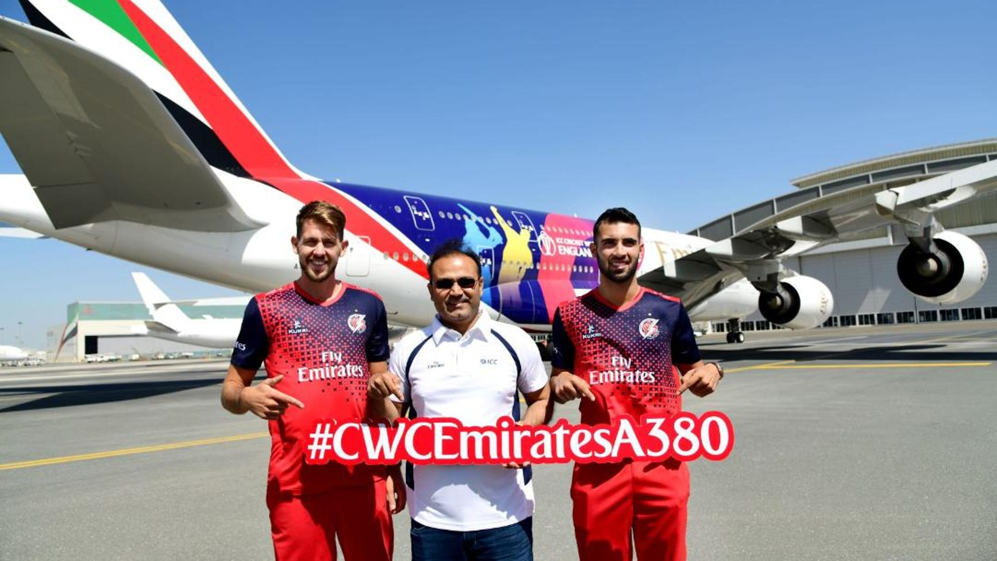 Virender Sehwag launches the CWC19 Emirates A380!