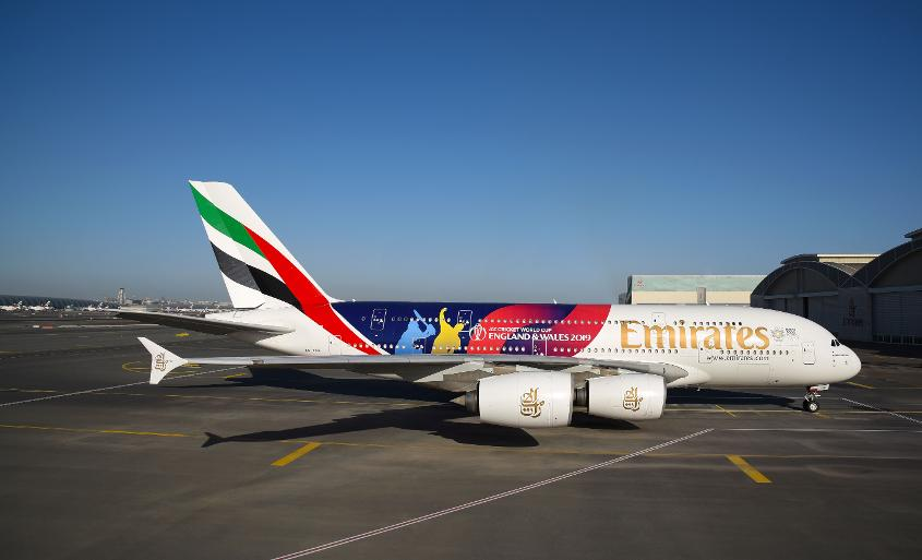 ICC Men's Cricket World Cup 2019 decal on the Emirates A380